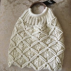 New lined crochet knit tote bag wood handle
